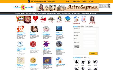 Screenshot of Home Page vedicastrologysigns.com - Astrology, Indian Horoscopes, Astrology Prediction , Vastu, Horoscope, Vedic Astrology Signs - captured Oct. 4, 2014