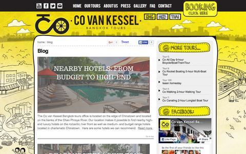 Screenshot of Blog covankessel.com - Blog - Co van Kessel Bangkok Tours - Bicycle and boat tours - captured Jan. 18, 2016