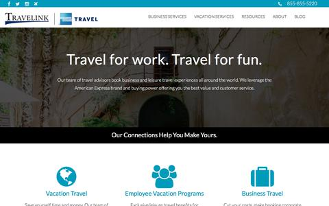 Screenshot of Home Page travelink.com - Travelink, American Express Travel - captured March 24, 2018
