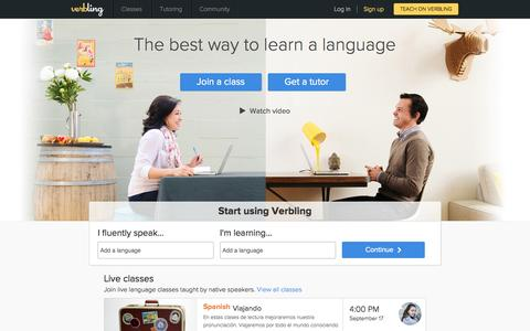 Screenshot of Home Page verbling.com - Verbling: Online language classes and private tutoring - captured Sept. 17, 2014