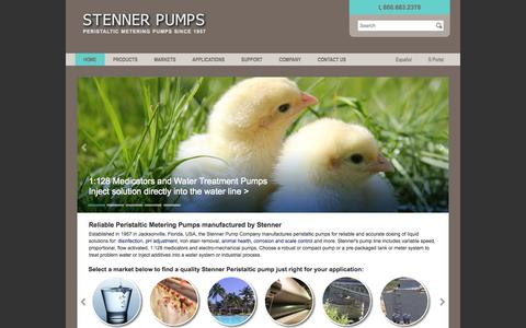 Screenshot of Home Page stenner.com - Stenner Pumps manufacturer of Peristaltic Metering pumps - captured Jan. 22, 2015