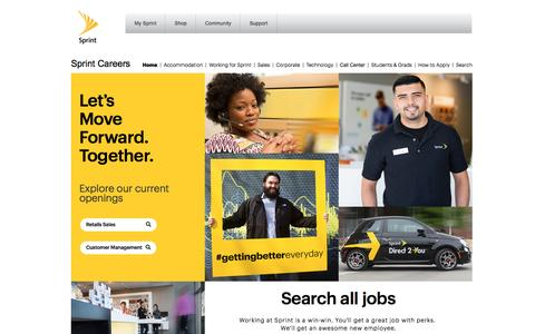 Screenshot of Jobs Page sprint.com - Sprint - Careers - captured July 1, 2016