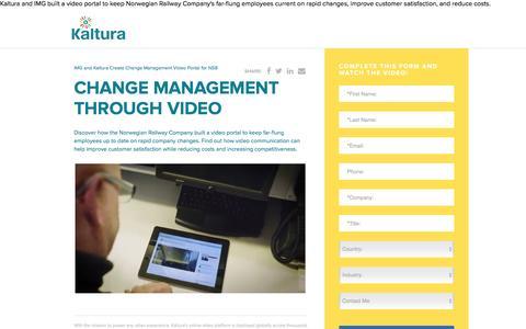 Screenshot of Landing Page kaltura.com - Change Management Through Video - captured Aug. 18, 2016