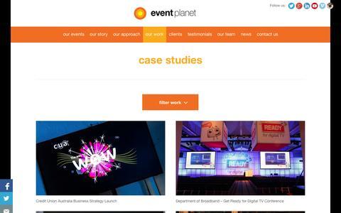 Screenshot of Case Studies Page eventplanet.com.au - Case Studies - Corporate Event Management Company    Event Planet - captured Sept. 30, 2014