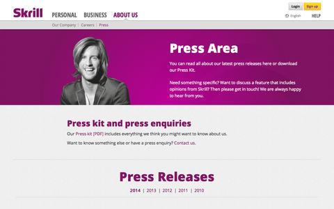 Screenshot of Press Page skrill.com - Press | Skrill - captured Sept. 19, 2014