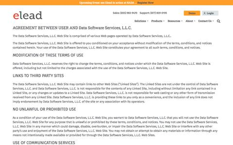 Screenshot of Terms Page elead-crm.com - Terms and Conditions   Elead - captured Nov. 22, 2019