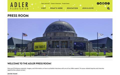 Screenshot of Press Page adlerplanetarium.org - Adler Planetarium Press Room - captured July 29, 2018