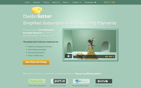 Screenshot of Home Page cheddargetter.com - Online Recurring Billing Manager | CheddarGetter - captured Sept. 22, 2014