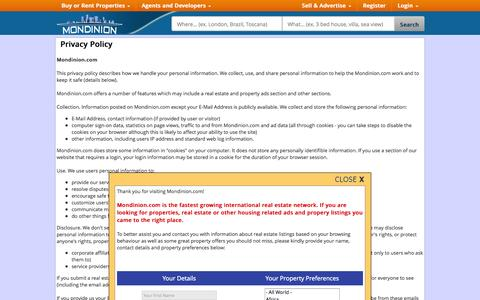 Screenshot of Privacy Page mondinion.com - Privacy Policy - Mondinion.com Global Real Estate - captured Oct. 26, 2014
