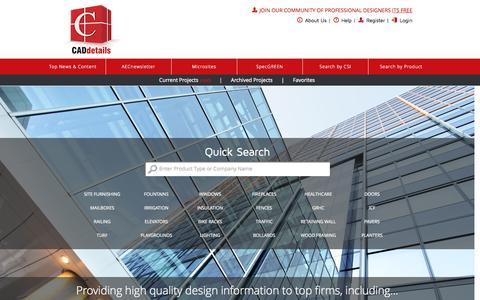 Screenshot of Login Page caddetails.com - CADdetails - Home - captured Oct. 1, 2015
