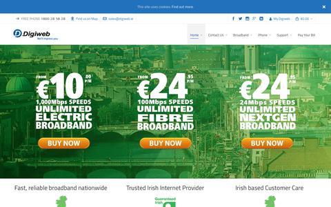 Screenshot of Home Page digiweb.ie - Best Broadband Deal - Unlimited Fibre to the home Broadband for €10 - captured Oct. 9, 2018