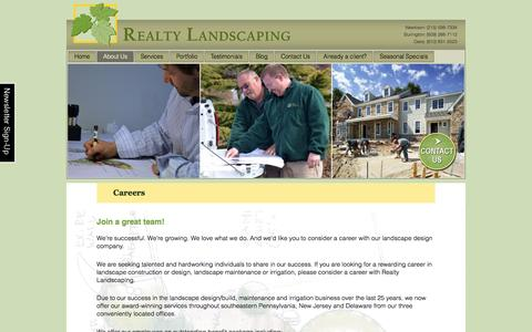 Screenshot of Jobs Page realtylandscaping.com - Landscape Maintenance & Design Careers: Bucks-Montgomery PA - captured Dec. 15, 2016