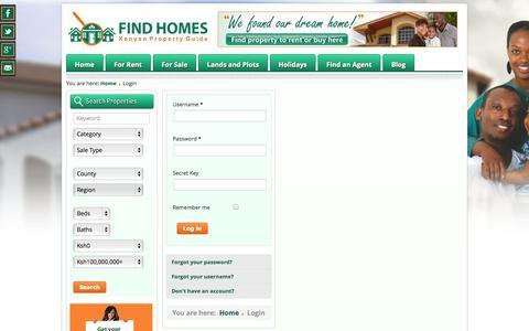 Screenshot of Login Page findhomes.co.ke - Login - Find Homes   Kenyan Property Guide - captured Oct. 6, 2014