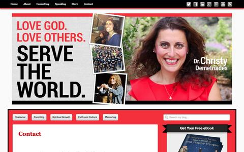 Screenshot of Contact Page drchristyd.com - Contact - Christy Demetriades, Ph.D. - captured Oct. 5, 2014