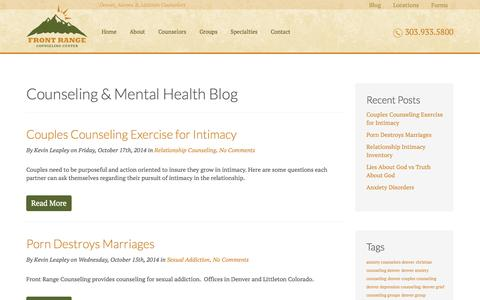 Screenshot of Blog frontrangecounselingcenter.com - Counseling & Mental Health Blog        Front Range Counseling Center - captured Oct. 29, 2014