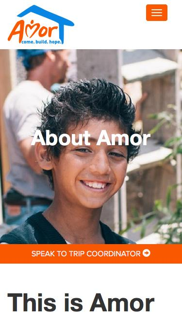 Screenshot of About Page  amor.org - About Us - Mission Trips with Amor Ministries