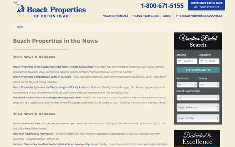 Screenshot of Press Page beach-property.com - Beach Properties of Hilton Head~In The News - captured Feb. 7, 2016