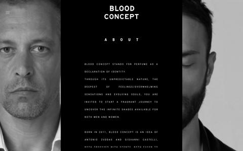 Screenshot of About Page bloodconcept.com - About | BLOOD CONCEPT - captured Dec. 28, 2015