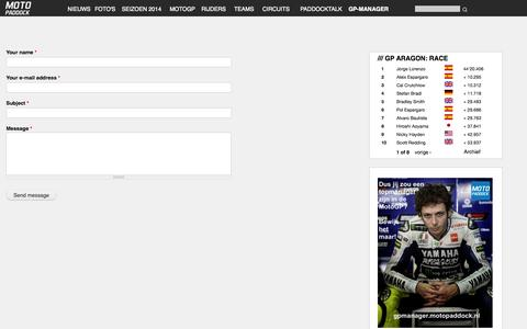 Screenshot of Contact Page motopaddock.nl - Contact | MotoPaddock - captured Oct. 7, 2014