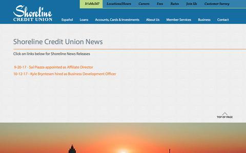 Screenshot of Press Page shorelinecu.org - : Shoreline Credit Union - captured Oct. 24, 2017