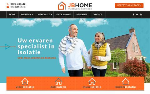 Screenshot of Home Page jbhome.nl - TONZON-isolatie Noord-Nederland - JBHOME - captured Sept. 30, 2018