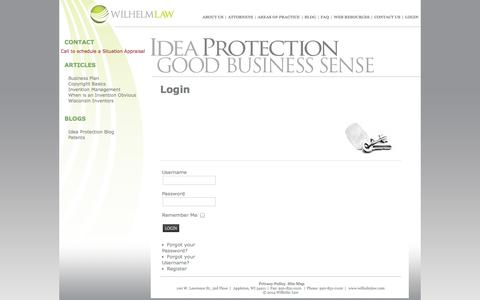 Screenshot of Login Page wilhelmlaw.com - Login - captured Oct. 7, 2014