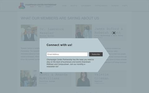 Screenshot of Testimonials Page champaigncenter.com - TESTIMONIALS | Champaign Center Partnership - captured Sept. 27, 2018
