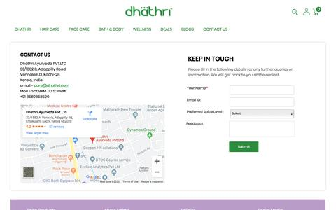 Screenshot of Contact Page dhathri.com - Contact-Us - captured Jan. 6, 2020