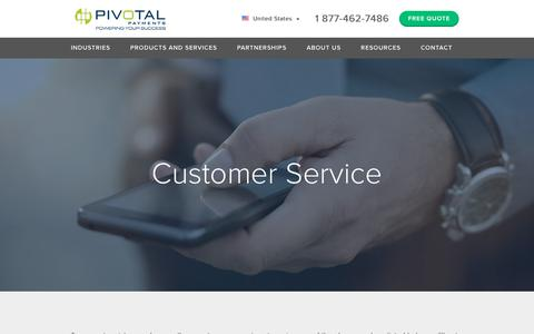 Screenshot of Support Page pivotalpayments.com - Customer Service | Pivotal Payments - captured July 19, 2018