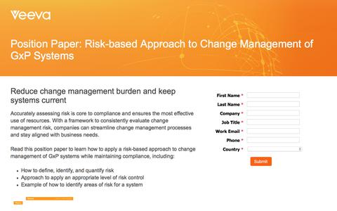 Screenshot of Landing Page veeva.com - Position Paper: Risk-based Approach to Change Management of GxP Systems - captured May 11, 2018