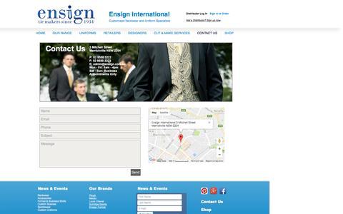 Screenshot of Contact Page ensign.com.au - Contact Us | Ensign International - captured Nov. 8, 2016