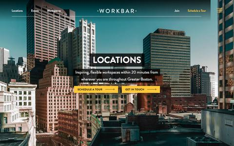 Screenshot of Locations Page workbar.com - Coworking Spaces and Offices Near You in and around Boston | Workbar - captured Sept. 18, 2019