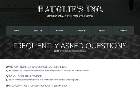 Screenshot of FAQ Page haugliesflooring.com - Frequently Asked Questions  |  Hauglie's Flooring - captured Nov. 1, 2016