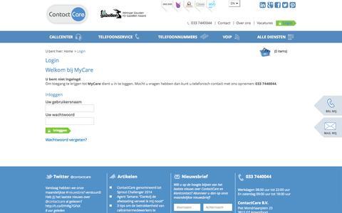 Screenshot of Login Page contactcare.nl - Login - ContactCare - captured Sept. 30, 2014