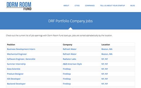 Screenshot of Jobs Page dormroomfund.com - Jobs | Dorm Room Fund - captured Sept. 22, 2014