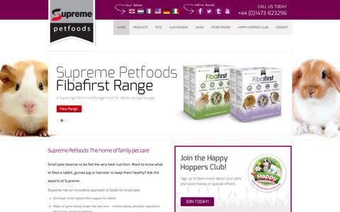 Screenshot of Home Page supremepetfoods.com - Supreme Pet Foods | Selective Pet Foods Range - captured Oct. 8, 2014