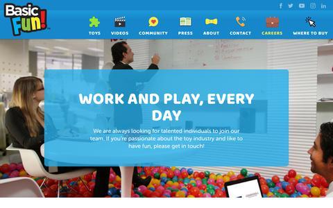 Screenshot of Jobs Page basicfun.com - Basic Fun - Careers - captured Oct. 30, 2018