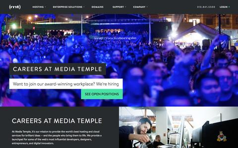 Screenshot of Jobs Page mediatemple.net - Hi, we're (mt) Media Temple. We are a premium web hosting provider. - captured May 17, 2016