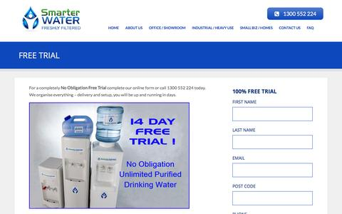 Screenshot of Trial Page smarterwater.net.au - Free Trial - Smarter Water - captured Jan. 11, 2016