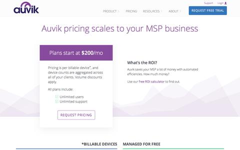 Screenshot of Pricing Page auvik.com - Auvik Pricing   Auvik Networks - captured July 4, 2016