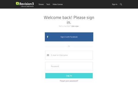 Screenshot of Login Page revision3.com - Login | Revision3 - captured Sept. 12, 2014
