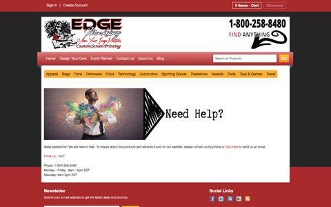 Screenshot of Contact Page edgemarkpromo.com - Contact Us - Edge Marketing & Promotions - captured Sept. 27, 2018