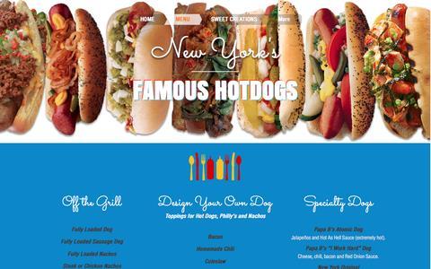 Screenshot of Menu Page newyorksfamoushotdogs.com - New York's Famous Hotdogs   MENU - captured Dec. 14, 2016
