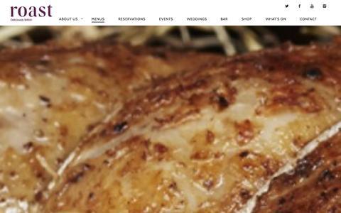 Screenshot of Menu Page roast-restaurant.com - Menu | Roast Restaurant - captured Jan. 24, 2016
