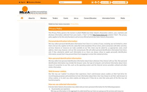 Screenshot of Privacy Page mesia.com - Middle East Solar Industry Association |   Privacy Policy - captured Oct. 27, 2014