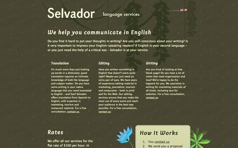 Screenshot of Home Page selvador.com - Selvador Language Services - Linguistic Consulting - captured Oct. 6, 2014