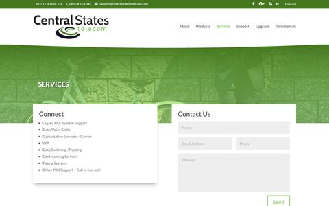 Screenshot of Services Page centralstatestelecom.com - Services – Central States Telecom - captured Nov. 10, 2018
