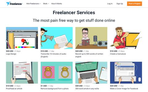 Screenshot of Services Page freelancer.com - All Services | Freelancer - captured May 30, 2017