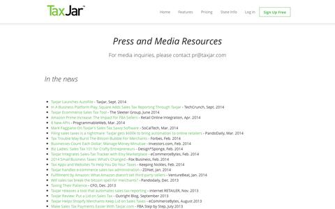 Screenshot of Press Page taxjar.com - TaxJar in the Press - captured Sept. 17, 2014