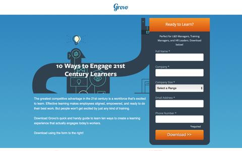 Screenshot of Landing Page grovo.com - 10 Ways to Engage 21st Century Learners - captured Oct. 20, 2016